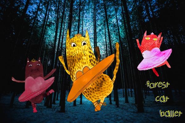 Forest Cat Ballet illustration
